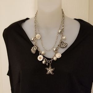 Seashells,  Pearls and bling necklace